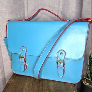 Pepaloves teal and red faux leather satch…